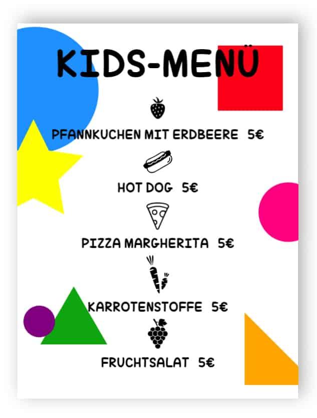 Kinder-Menü