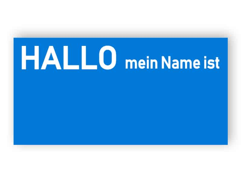 Blaues Namensschild