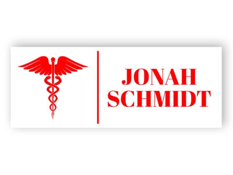 Namensschild für Arzt
