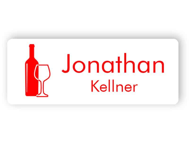 Weißes und rotes Namensschild für Kellner
