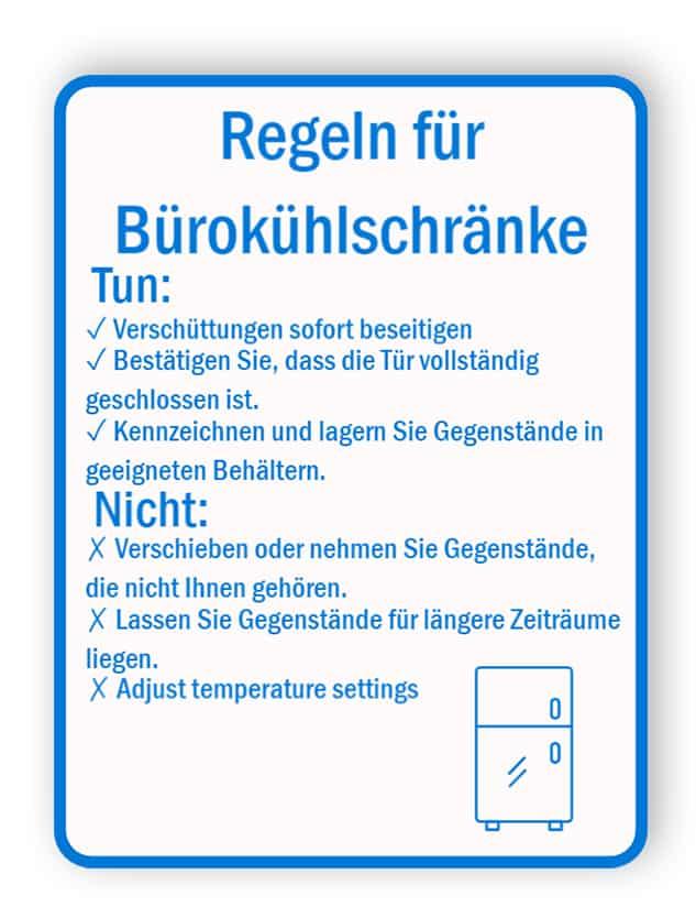 Büro-Kühlschrank-Regelschild