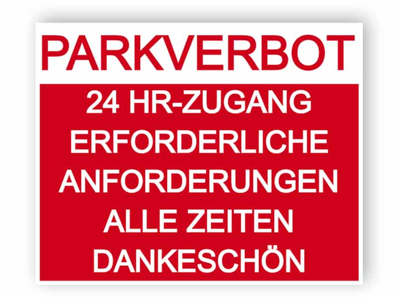 Keine Parkplatz-Zeichen in Rot mit Erklärung