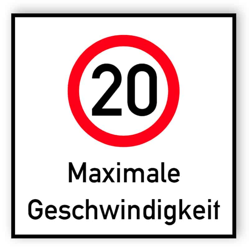 Höchstgeschwindigkeit 20 Schild