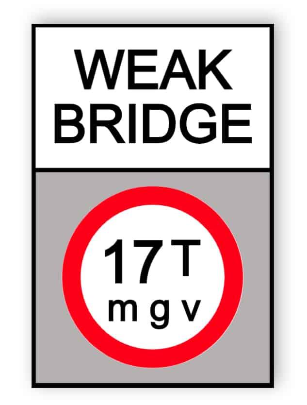 Schwache Brücke Schild