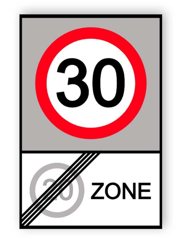 Ende der 20-MPH-Zone und Beginn der 30-MPH-Zonenschilder