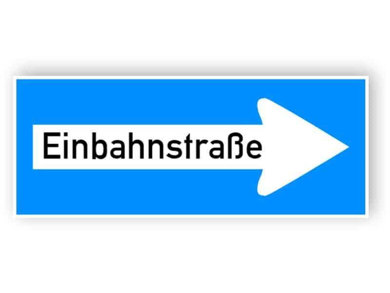 Einbahnverkehr in Richtung angezeigt (rechts) Schild