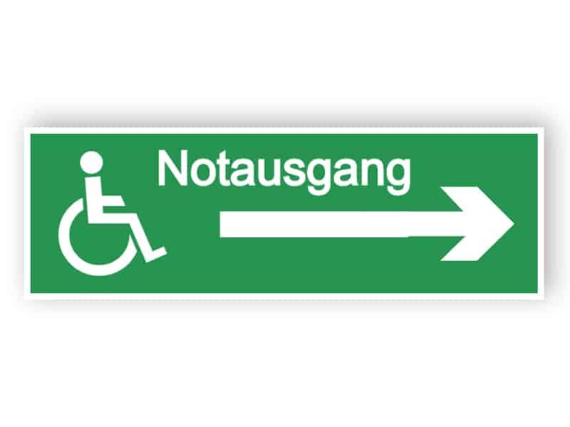 Notausgang-Schild - mit Zugang für Behinderte