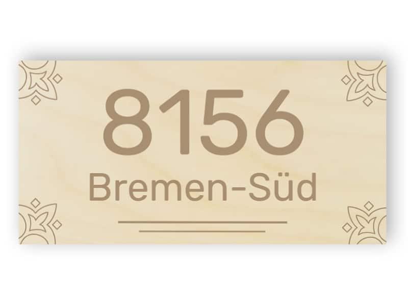 Rechteckiges Hausnummernschild aus Holz