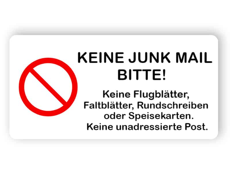 Kein Junk-Mail-Schild
