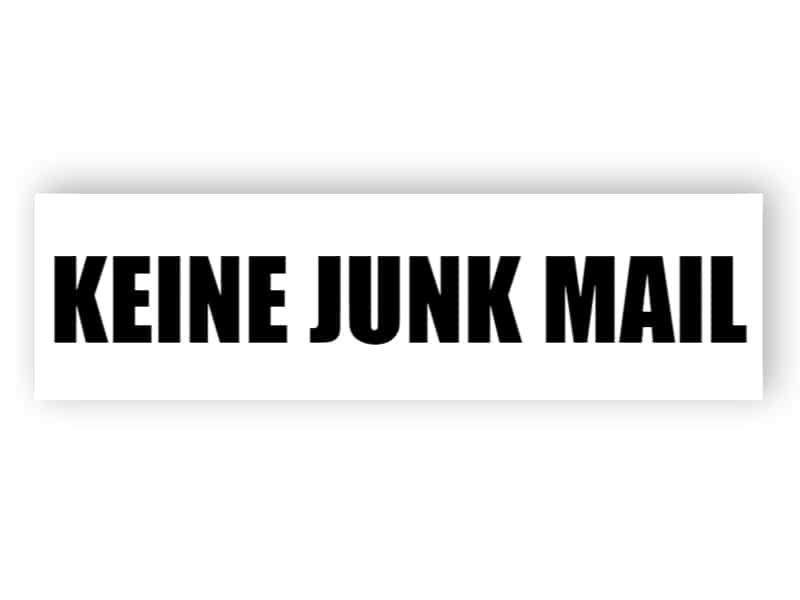 Kein Junk-Mail-Schild 2