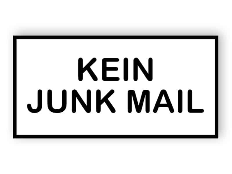 Kein Junk-Mail-Schild 4