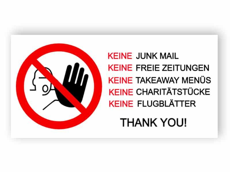 Kein Junk-Mail-Schild 5