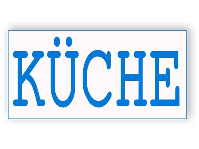 Weiß und blau Küche Zeichen