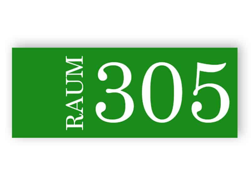 Grünes Zimmer-Nummernschild