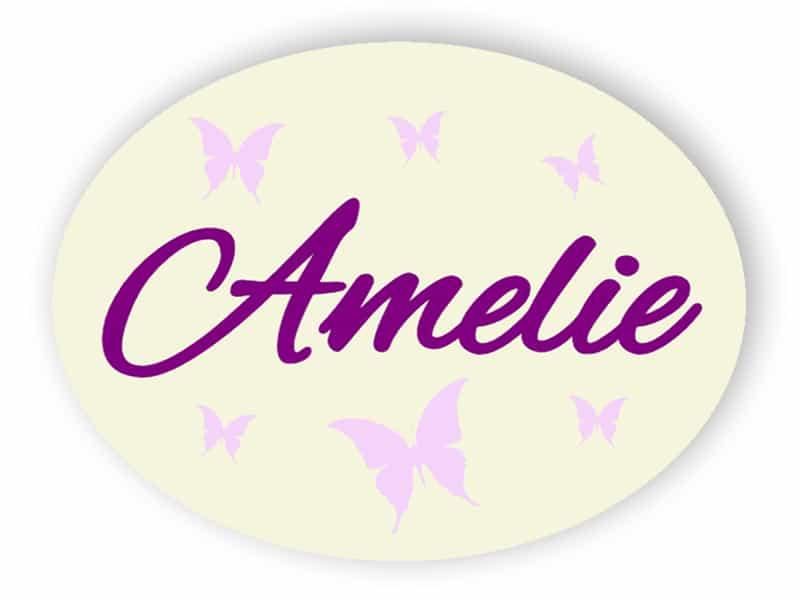Kinder-Namensschild mit Schmetterlingen
