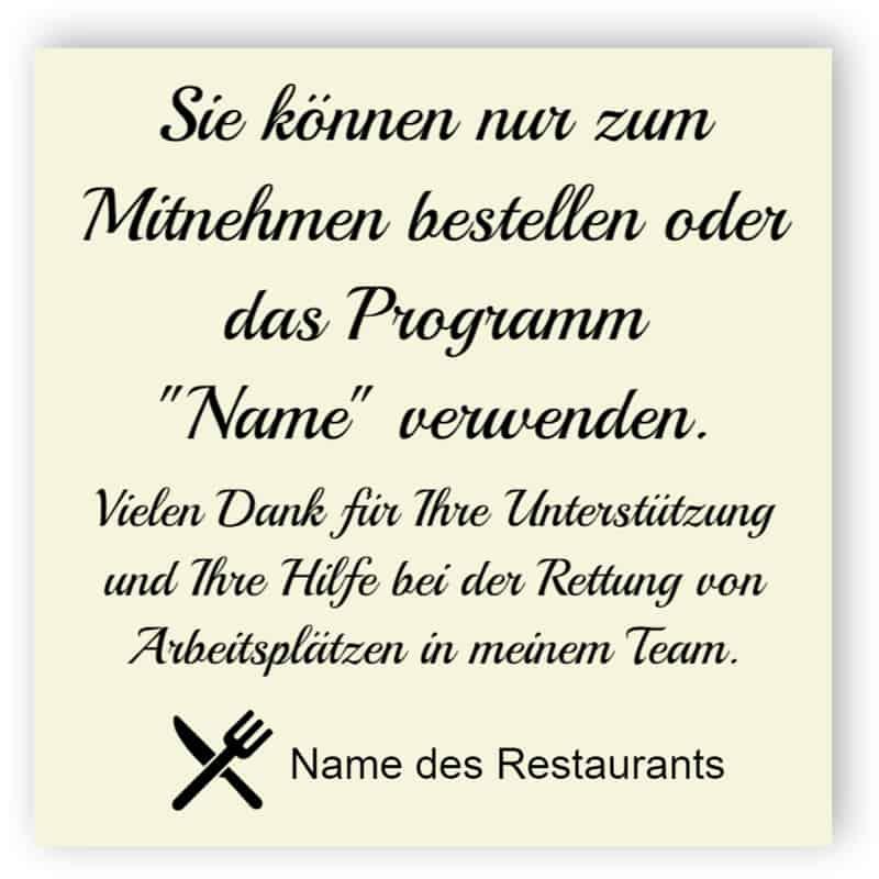 Schild für Restaurant