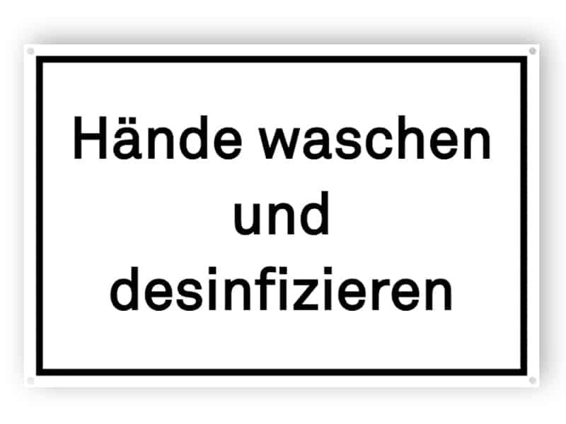 Hände waschen und desinfizieren - Gedruckt