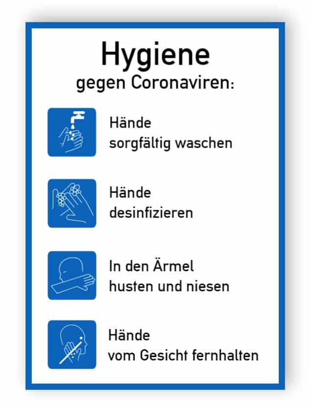 Hygiene gegen Coronaviren - Aufkleber