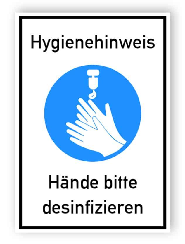 Hygienehinweis - Aufkleber