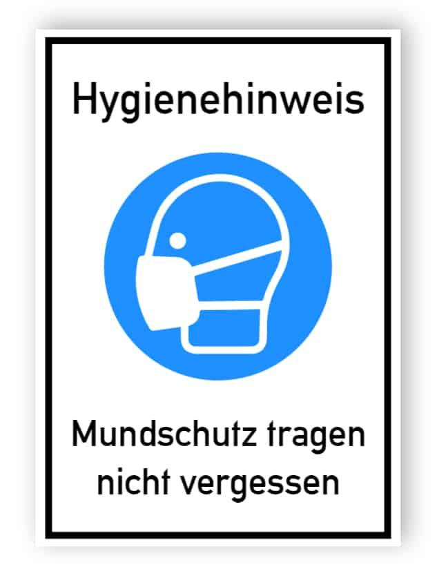 Hygienehinweis - Mundschutz tragen nicht vergessen - Aufkleber