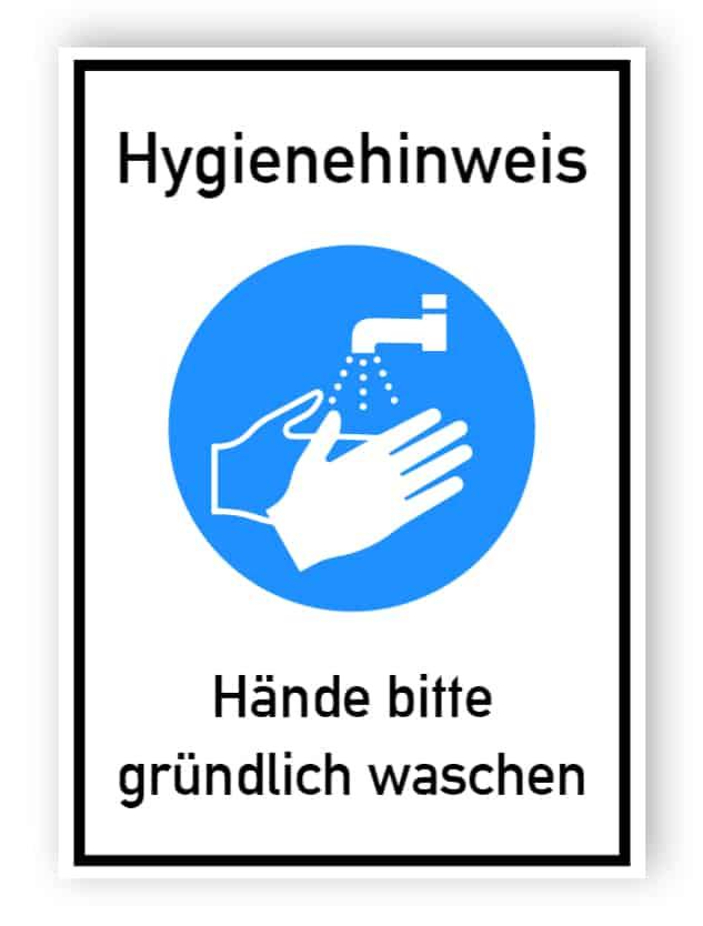 Hygienehinweis - Hände bitte gründlich waschen - Aufkleber
