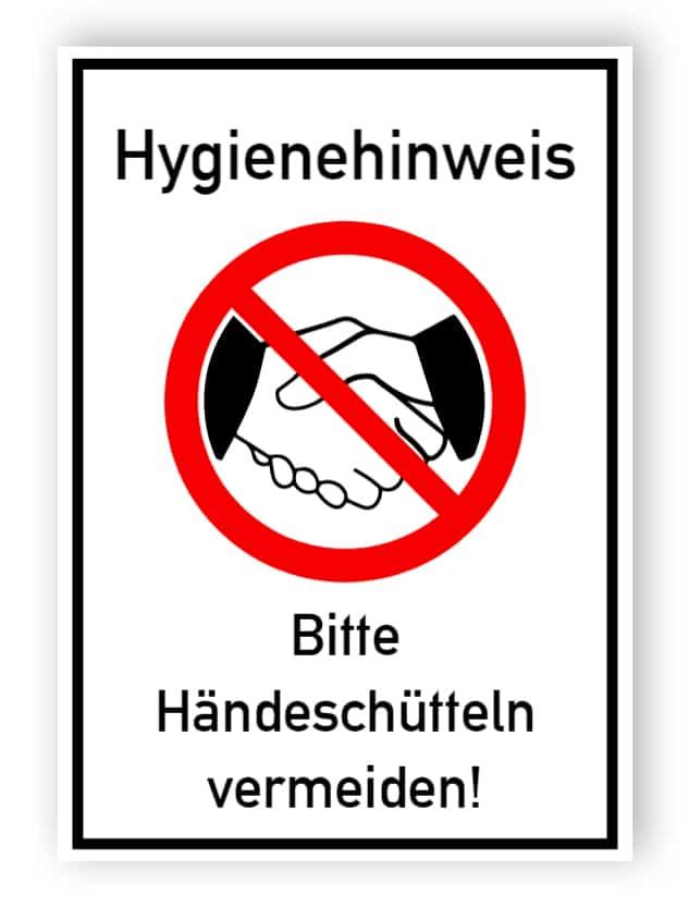 Hygienehinweis - Bitte Händeschütteln vermeiden! - Aufkleber