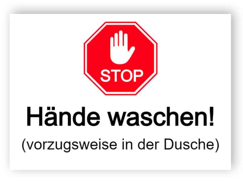 Stop - Hände waschen!