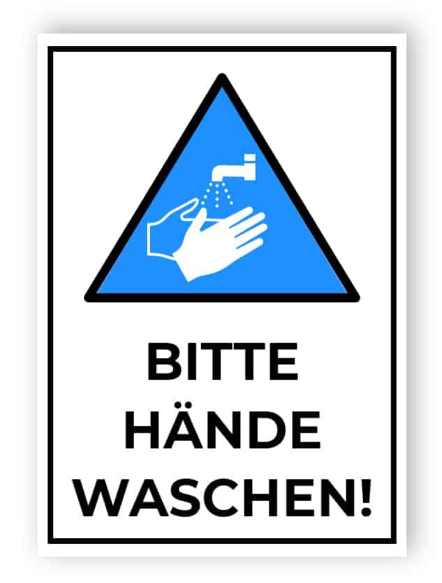 Bitte Hände waschen – Coronavirus Schild