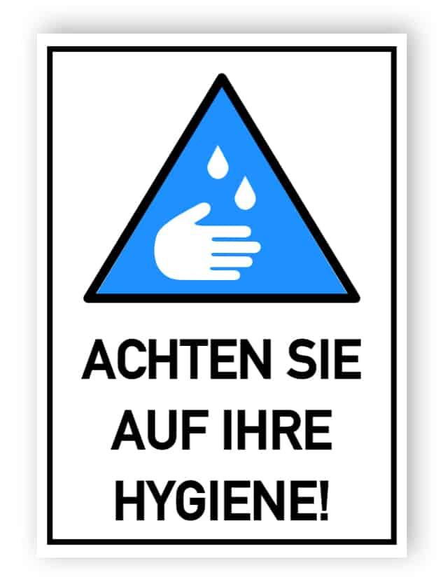 Achten Sie auf Ihre Hygiene - Aufkleber