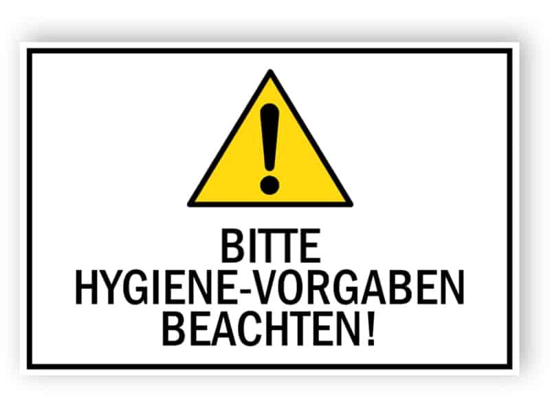 Bitte Hygien-Vorgaben beachten