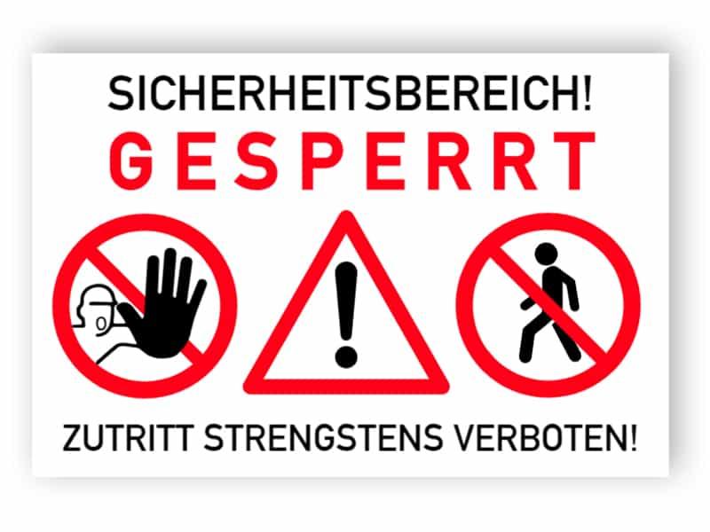 Sicherheitsbereich Schild