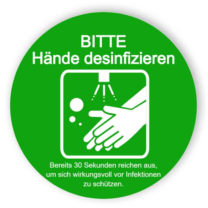 Bitte Hände desinfizieren - Grün Aufkleber
