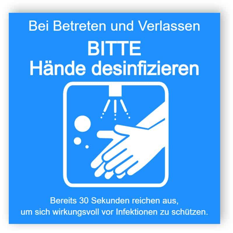 Bitte Hände desinfizieren - Blau Aufkleber