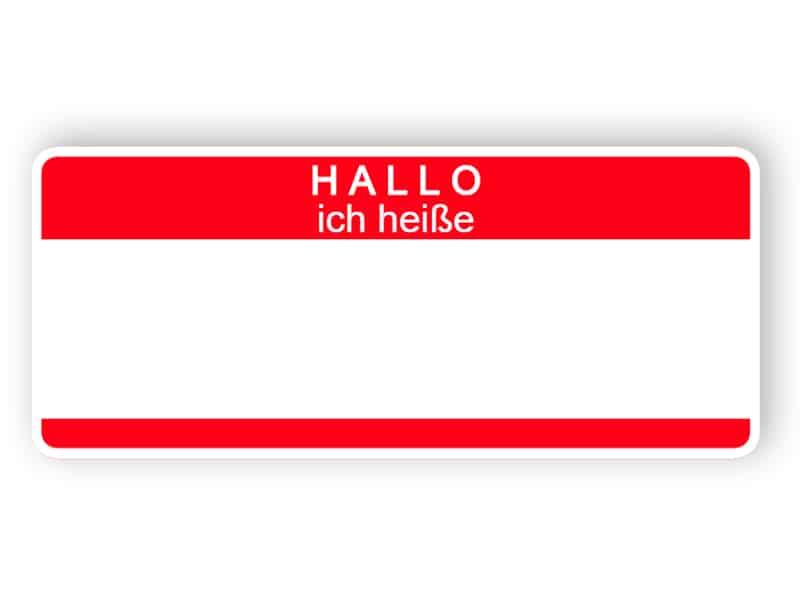 Hallo ich heiße - rotes Namensschild
