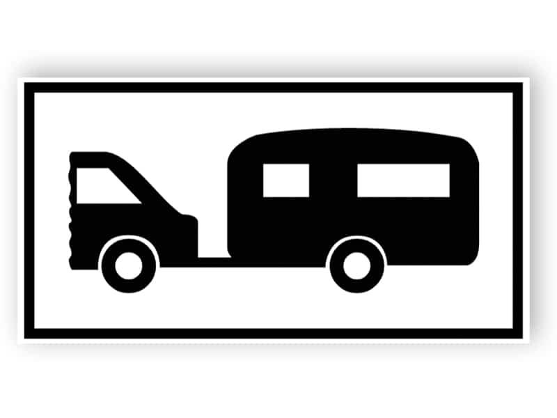 Parkplatz für motorisierte Wohnwagen oder Wohnwagen gezogen von Kraftfahrzeugen Zeichen
