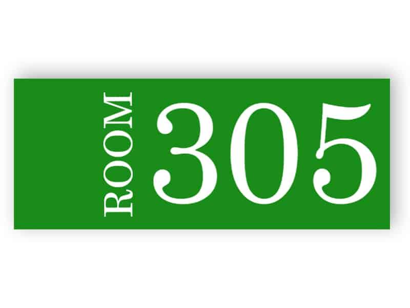 Grünes Zimmernummernschild