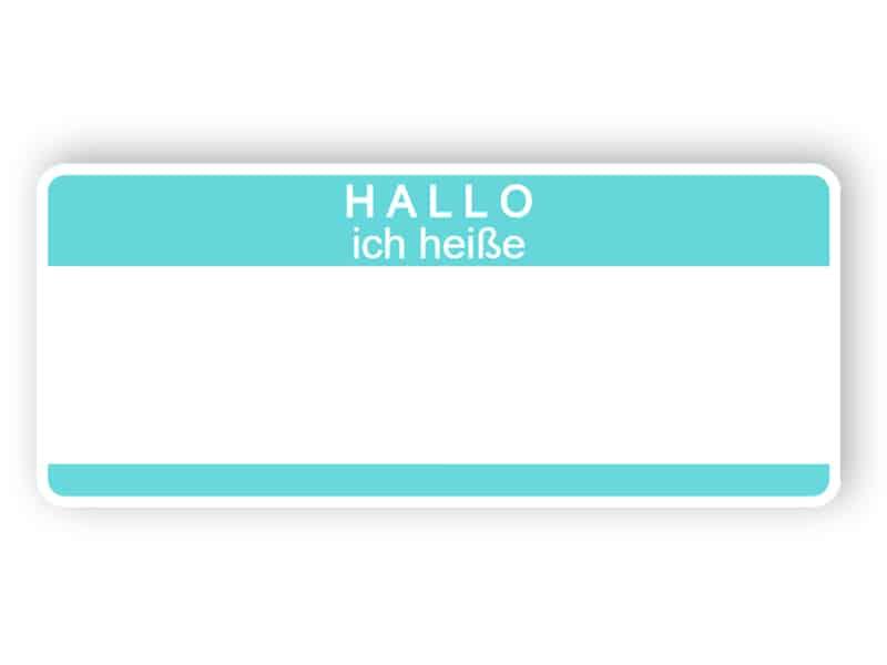 Hallo ich heiße - hellblaues Namensschild
