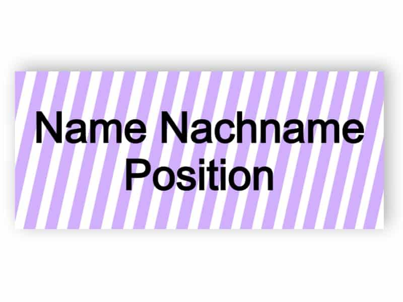 Namensschild mit violetten Streifen