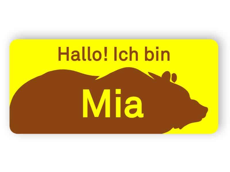 Namensschild mit Bär