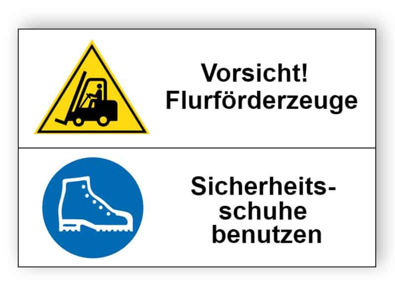 Vorsicht! Flurförderzeuge / Sicherheitsschuhe Hände