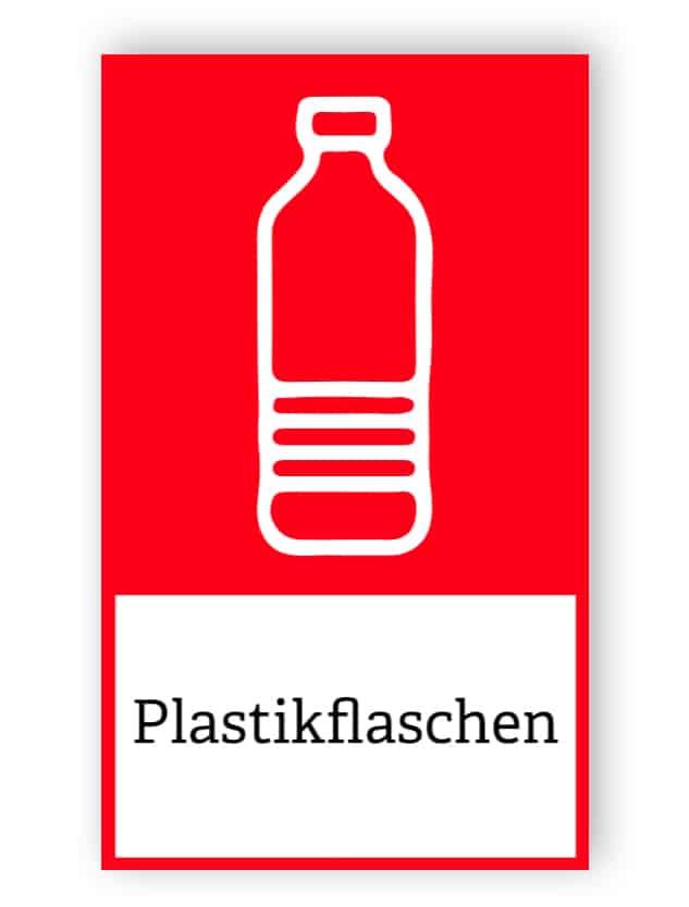 Rote Plastikflaschen Aufkleber