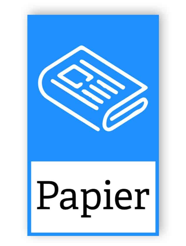 Blaue Papieraufkleber