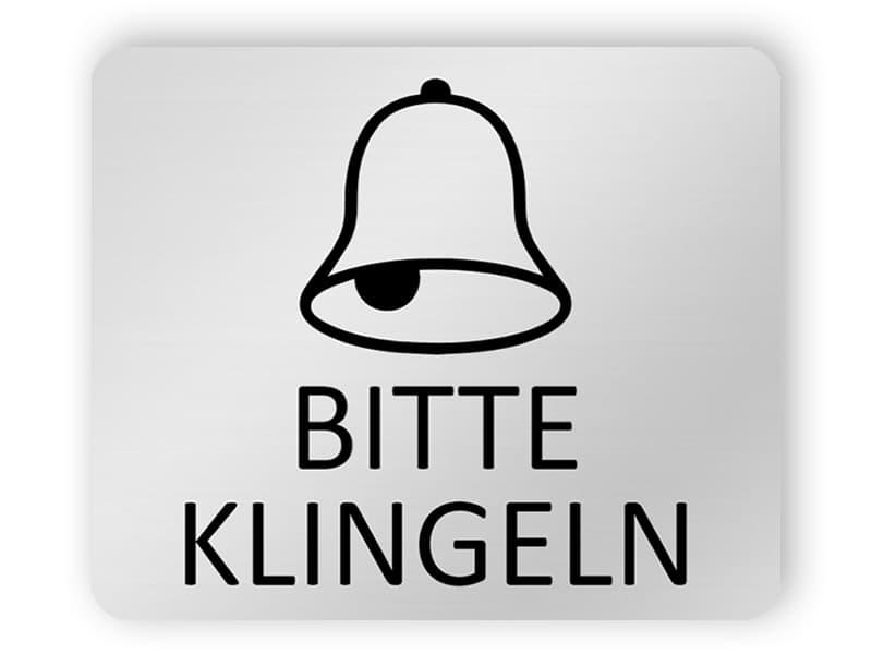 Bitte klingeln - Silbernes Schild