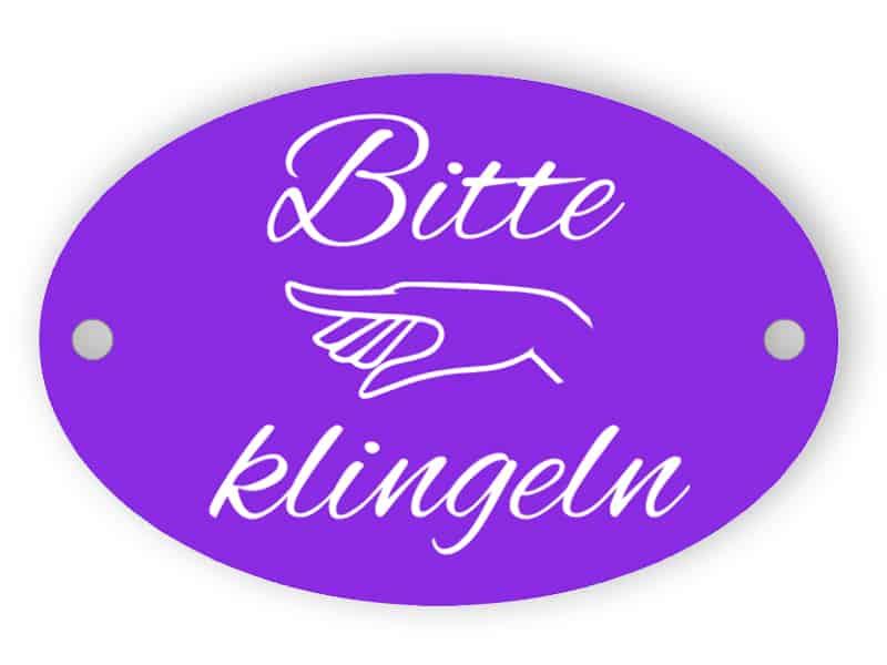 Bitte klingeln - Violettes Zeichen