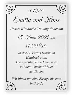 Acryl Hochzeitseinladung 1