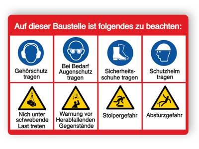 Baustellenschild Sicherheitshinweise