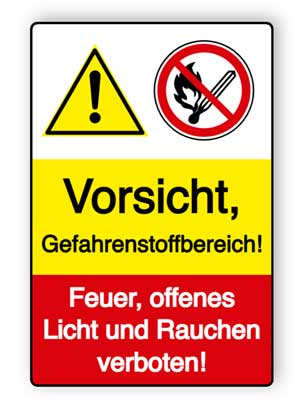 Vorsicht - Gefahrenstoffbereich! Feuer, offenes Licht und Rauchen verboten!