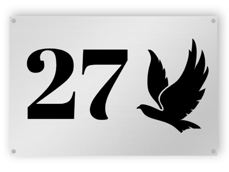 Silber Hausnummer Zeichen mit Vogel