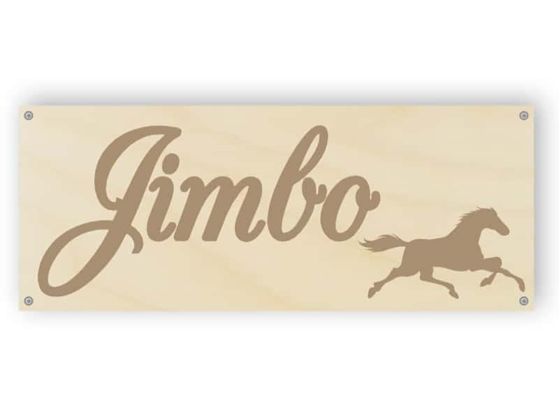 Holzpferd Namensschild