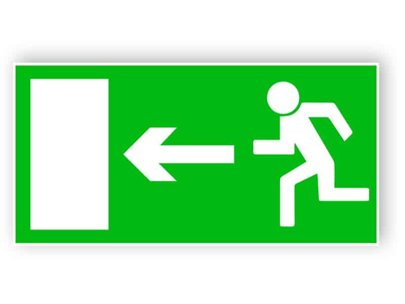 Rettungsweg nach links